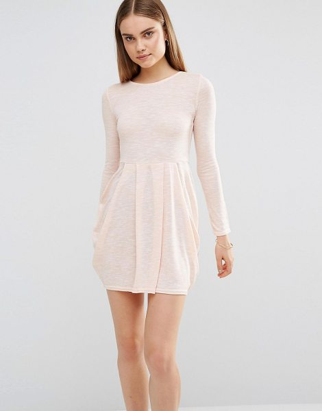 Ax Paris Knitted Long Sleeve Skater Dress in pink - Dress by AX Paris, Stretch knitted fabric, Round...