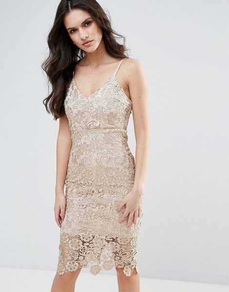 "Ax Paris Lace Pencil Dress in gold - """"Lace dress by AX Paris, Crochet lace, Partially lined,..."
