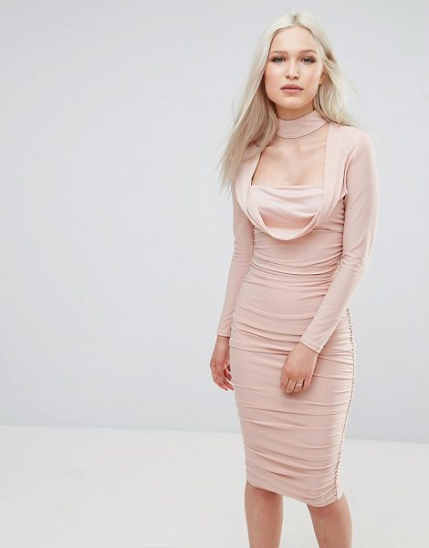 "Ax Paris Long Sleeve Slinky Dress in champagne - """"Dress by AX Paris, Smooth slinky fabric, Square neck,..."