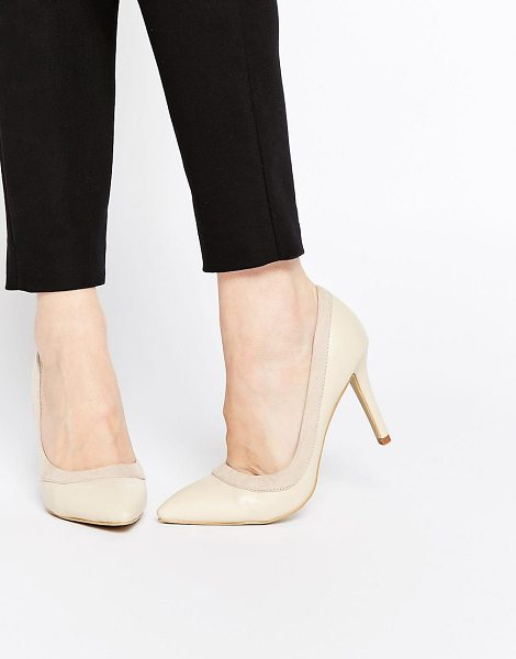 Ax Paris Marly heeled pumps in nude - Shoes by AX Paris, Smooth faux leather upper, Contrast...