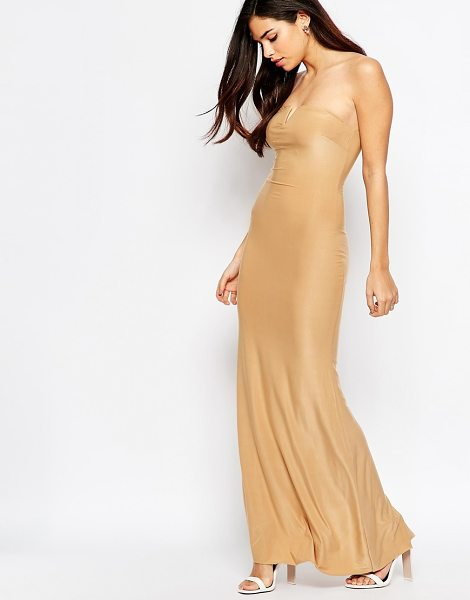 Ax Paris Maxi Dress in Slinky with Notch Front in beige - Evening dress by AX Paris, Slinky fabric, Sweetheart...