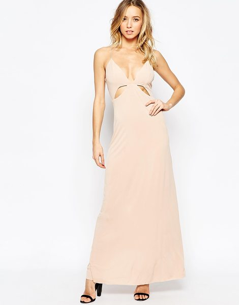 Ax Paris Maxi Dress with Cut Out Details in beige