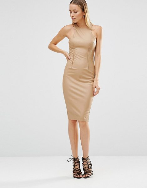 Ax Paris Midi Cami Dress in brown - Midi dress by AX Paris, Smooth stretch fabric, Round...