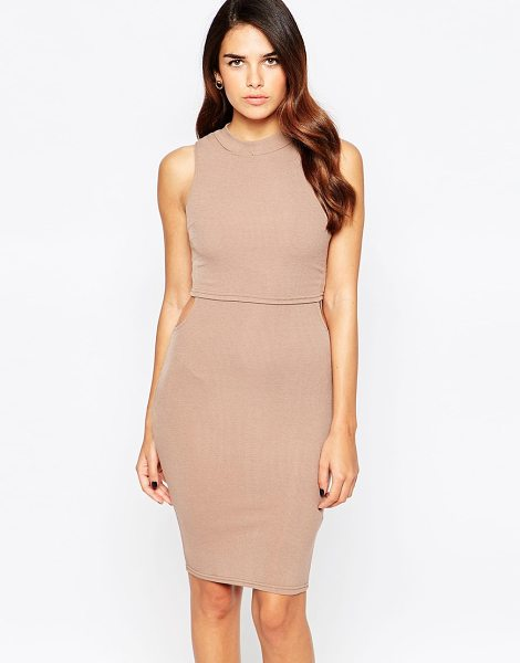 Ax Paris Midi dress with small cut-outs in mocha - Dress by AX Paris, Smooth stretch fabric, High neckline,...