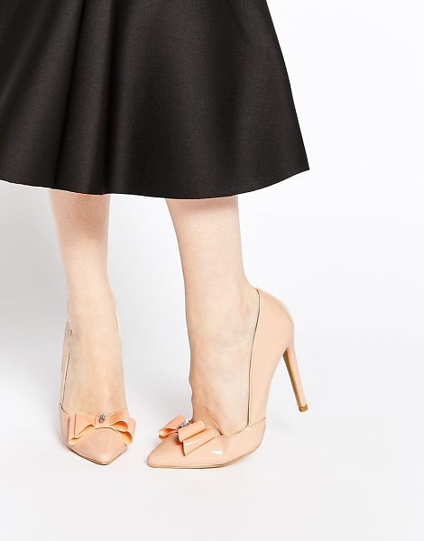 Ax Paris Nina cut out bow heeled pumps in peach - Shoes by AX Paris High-shine leather-look upper...