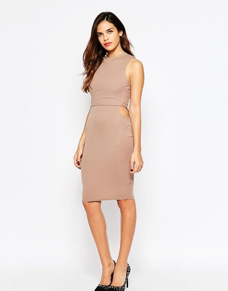 Ax Paris Overlay Dress in Rib with Small Side Cut Outs in beige - Evening dress by AX Paris, Soft-touch ribbed jersey,...