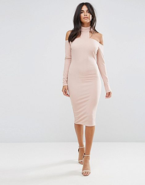 "AX PARIS Pink Midi Bodycon Dress - """"Midi dress by AX Paris, Textured stretch fabric, High..."