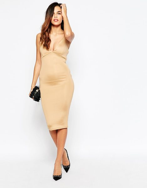 Ax Paris Plunge front midi dress with string straps in camel - Evening dress by AX Paris Super smooth knit fabric...