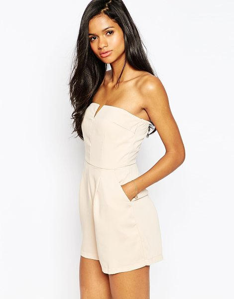 Ax Paris Plunge front romper in beige - Romper by AX Paris Lightweight woven fabric Partially...
