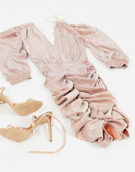 Ax Paris ruched sleeve plunge mini dress in rose gold glitter in gold