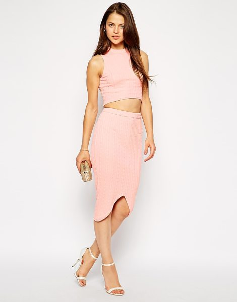 Ax Paris Textured crop top and pencil skirt with notch hem in peach - Co-ord set by AX Paris Textured, stretch fabric Polo...