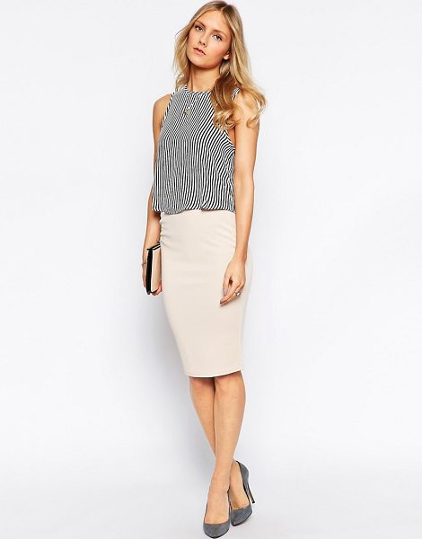 AX PARIS Textured Pencil Skirt - Skirt by AX Paris, Textured stretch fabric, High-rise,...