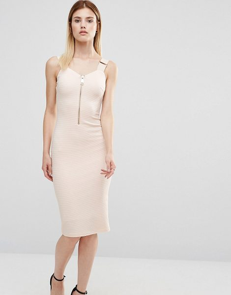 "Ax Paris Zip Front Pencil Dress in pink - """"Dress by AX Paris, Textured stretch fabric,..."