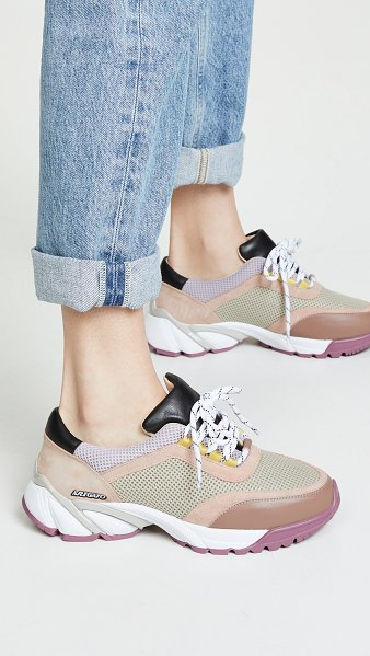 Axel Arigato system runner sneakers in taupe/pink - Leather: Cowhide Smooth leather with suede accents Mesh...