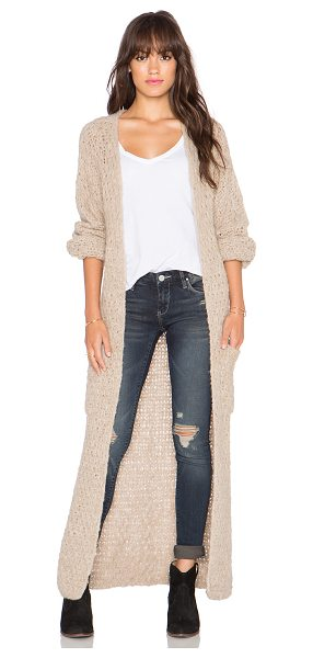 AYNI Abeto long cardigan in beige - 100% alpaca. Dry clean only. Open front. Front patch...