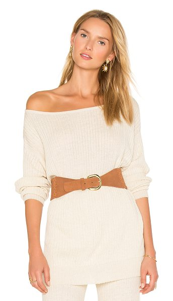 AYNI Java Off the Shoulder Sweater in cream - Cotton blend. Hand wash cold. Rib knit fabric....