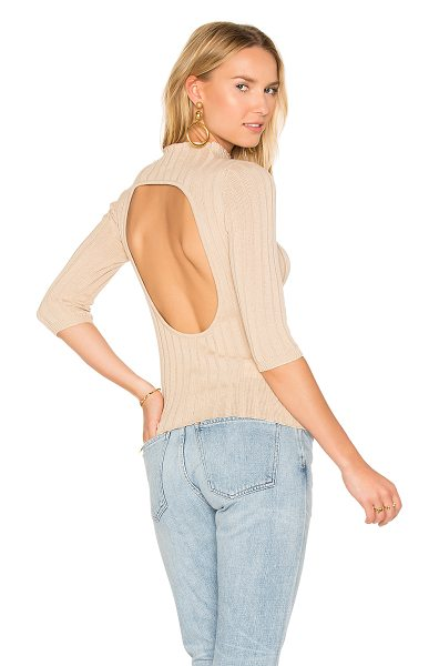 AYNI Nevada Rib Sweater in beige - Cotton blend. Hand wash cold. Back cut-out. Rib knit...