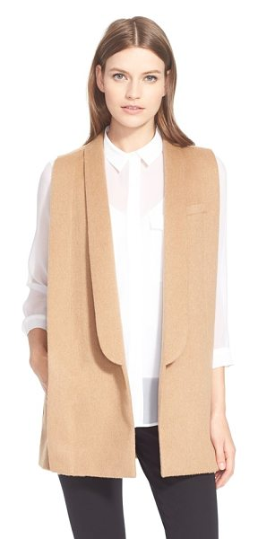 AYR the copper penguin sleeveless shawl collar jacket in camel - Soft, dense camel hair is tailored into a sleeveless,...