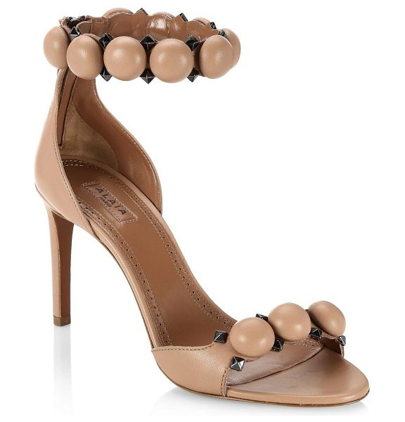 Azzedine Alaia leather bombe ankle strap sandals in beige