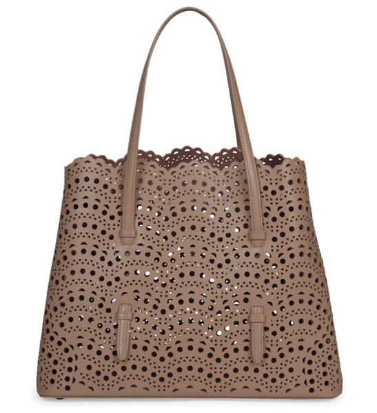 Azzedine Alaia mina perforated leather tote in brown