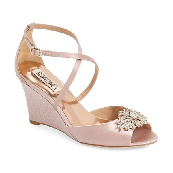Badgley Mischka 'abigail' peep toe wedge in blush satin - A dazzling brooch crowns the flirty peep toe on an...