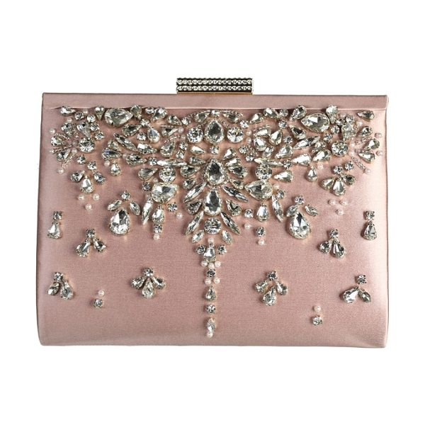 BADGLEY MISCHKA adele frame clutch in blush - Faceted crystals enhance the vintage elegance of a silky...