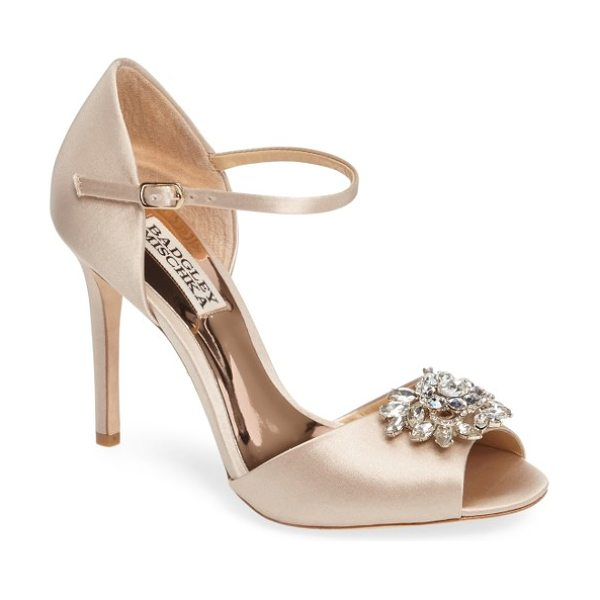 Badgley Mischka ankle strap pump in nude satin - A faceted crystal ornament dazzles at the toe of a sleek...