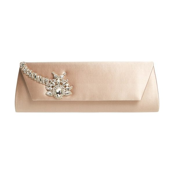 Badgley Mischka aria clutch in nude - A sparkling crystal ornament dazzles on the flap of a...