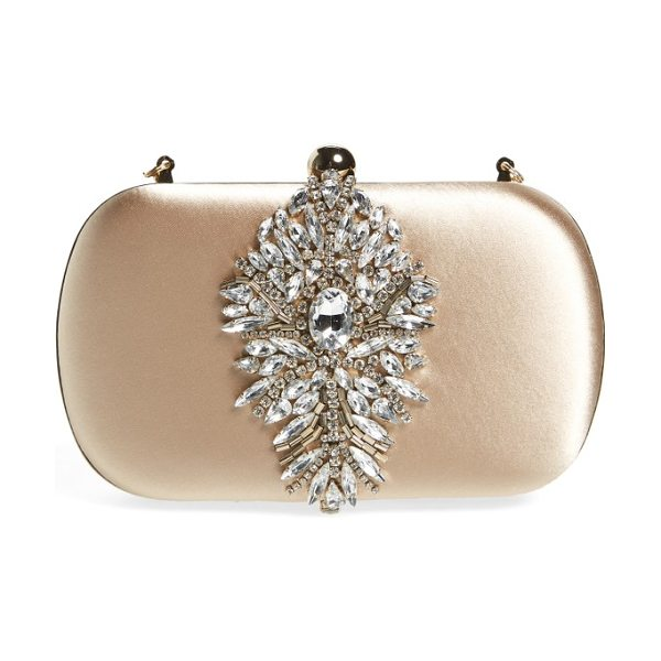 BADGLEY MISCHKA aurora clutch in nude - A shimmering crystal ornament adds eye-catching elegance...