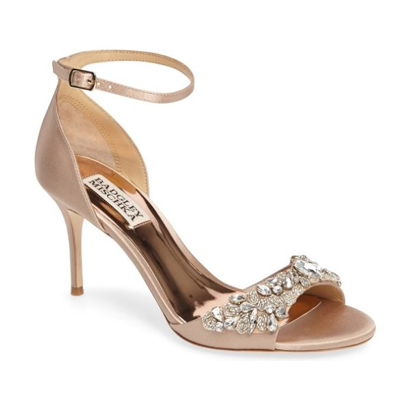 Badgley Mischka bankston sandal in latte satin - A slender ankle strap secures an event-ready sandal...