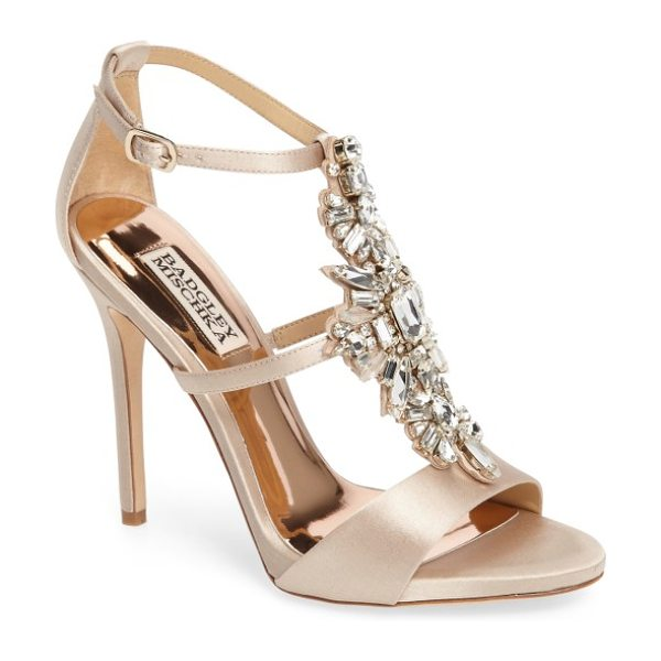 Badgley Mischka basile crystal embellished sandal in nude satin - Decadent crystals sparkle along the T-strap of an...