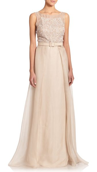 Badgley Mischka Beaded silk belted ball gown in taupe - An evening design of Old Hollywood allure, this...