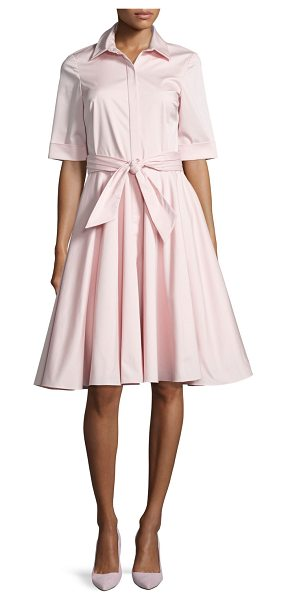BADGLEY MISCHKA Belted Stretch Poplin Shirtdress - Badgley Mischka shirtdress in stretch poplin. Spread...