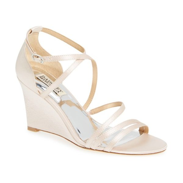 Badgley Mischka bonanza strappy wedge sandal in light pink satin - Slender straps arch over the open toe and crisscross in...