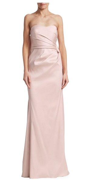 Badgley Mischka bow back gown in blush - Ruched gown with decorative back bow accent. Sweetheart...