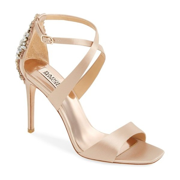 Badgley Mischka cadence crystal embellished sandal in latte - An extravagant crystal brooch wraps the heel of a...