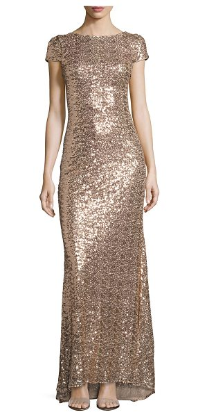 Badgley Mischka Cap-Sleeve Cowl-Back Sequined Gown in blush - Badgley Mischka gown in allover sequins. Approx. length:...