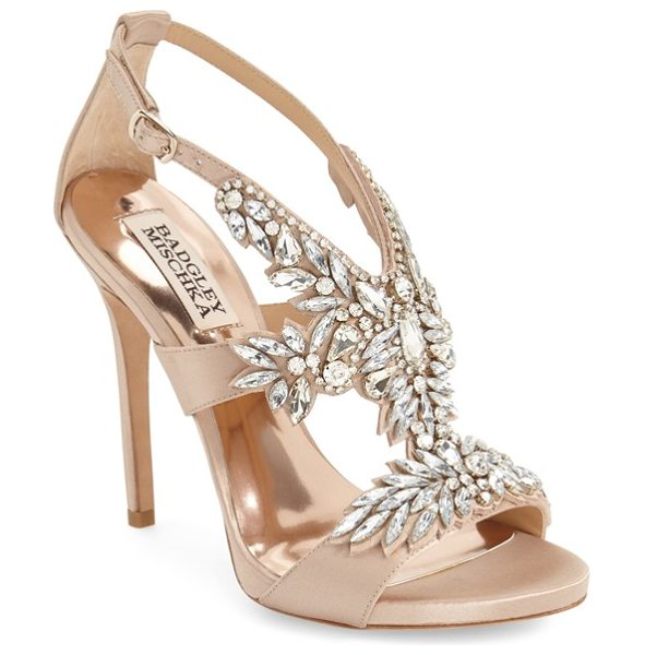 Badgley Mischka capella crystal embellished platform sandal in latte - A dazzling array of mixed crystals blooms across the...