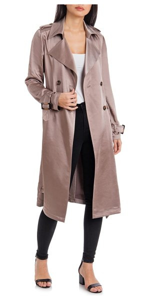 Badgley Mischka Collection badgley mischka double breasted satin trench coat in beige