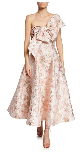 Badgley Mischka Collection Ballerina Bow Strapless Jacquard Cocktail Dress in pink