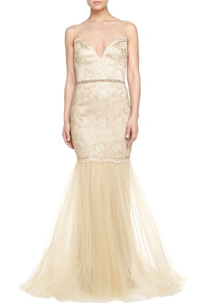 Badgley Mischka Collection Beaded & lace illusion-neck gown in gold - Badgley Mischka Collection beaded and lace gown....