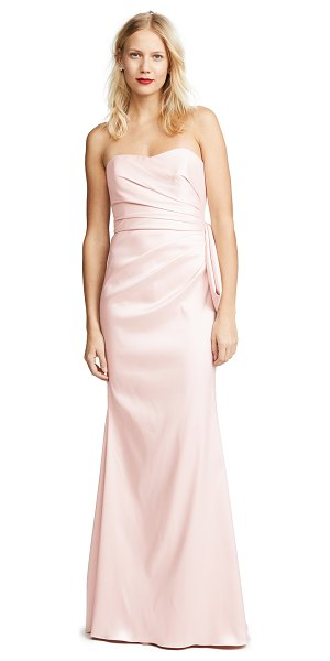 Badgley Mischka Collection bow back gown in blush - Fabric: Textured stretch satin Large decorative bow...