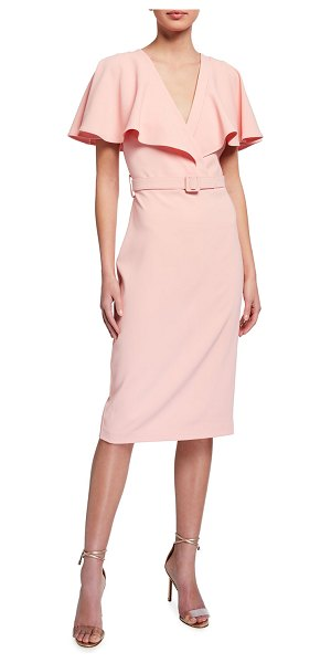 Badgley Mischka Collection Cape-Sleeve Belted Cocktail Dress in pink
