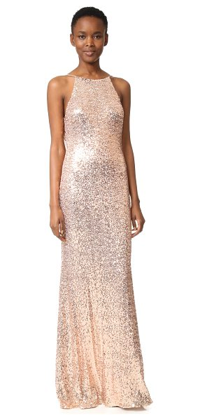 Badgley Mischka Collection cowl back sequin gown in blush - Mirrored sequins give this Badgley Mischka Collection...