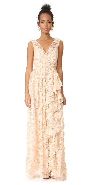 Badgley Mischka Collection cutout organza ruffle v neck gown in peach - Embroidery and cutwork designs create a lace-like effect...