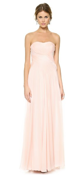 Badgley Mischka Collection Draped crossover dress in blush