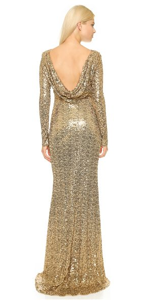 Badgley Mischka Collection Long sleeve sequin gown in gold - Allover sequins lend sparkle to this dramatic Badgley...