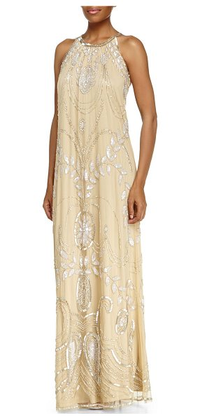 "Badgley Mischka Collection Sleeveless halter beaded gown in champagne - Badgley Mischka Collection beaded gown. Approx. 55""L..."