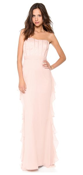 Badgley Mischka Collection strapless corset ruffle gown in blush - Satin trimmed boning streamlines the mesh bustier bodice...