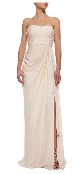 Badgley Mischka Collection Strapless draped high-slit gown in blush - Badgley Mischka Collection chiffon gown. Approx....